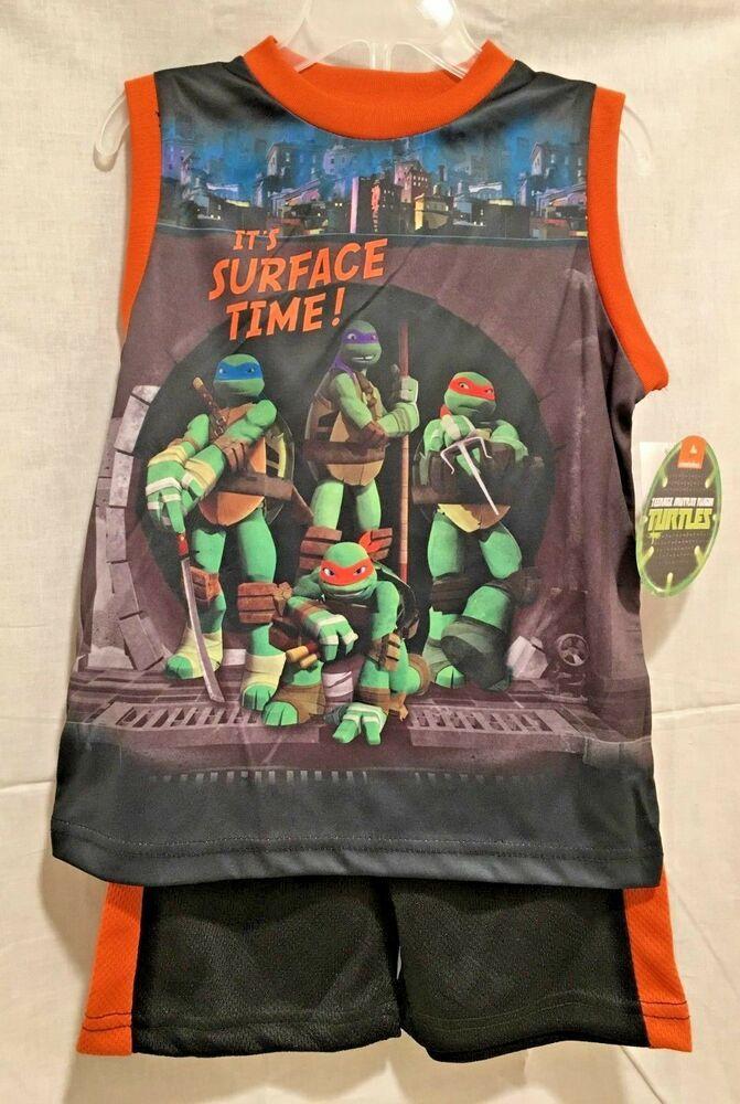 Nickeldeon Little Boy Teenage Mutant Ninja Turtles 4-Pc Pajama Short Set