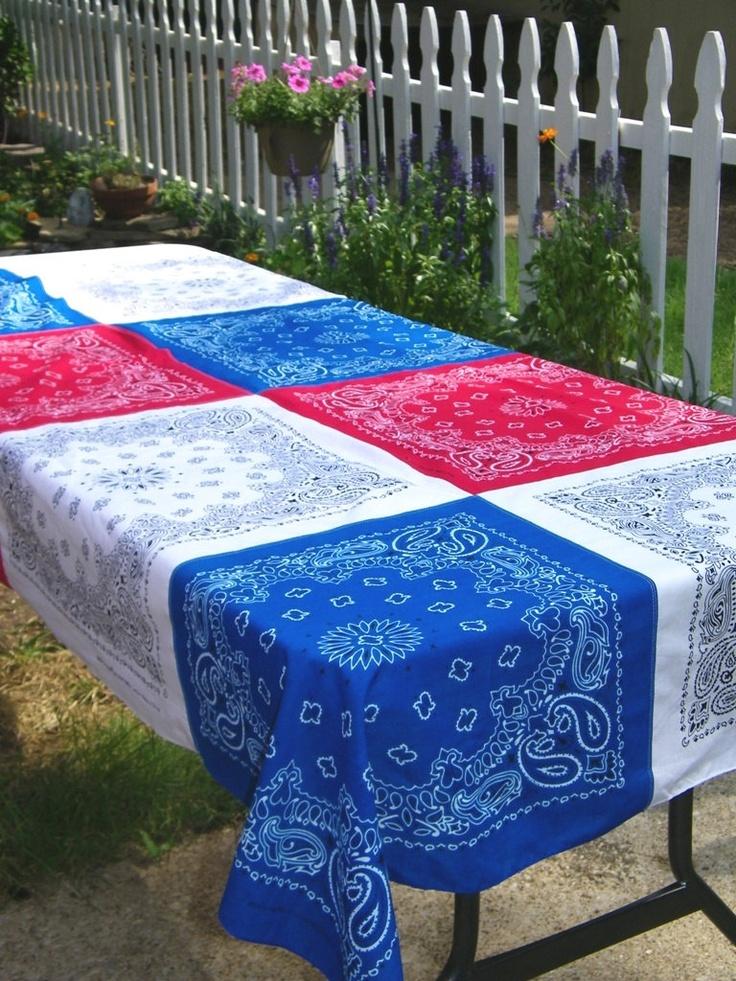 Patriotic Bandana Tablecloth 4th of July Memorialfor patio table...