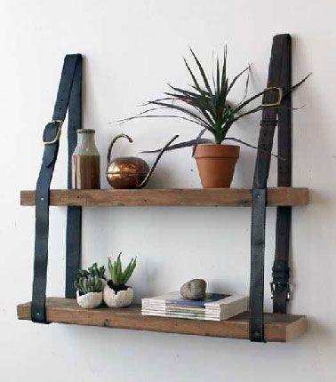fabriquer etagere bois avec laniere cuir euro. Black Bedroom Furniture Sets. Home Design Ideas