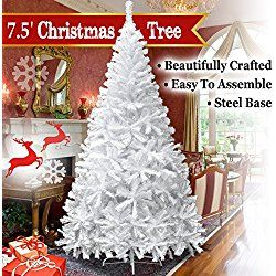 NEW 7.5' White Classic Pine Christmas Tree Artificial Realistic Natural Branches-Unlit 230CM 1200 Tips With Metal Stand