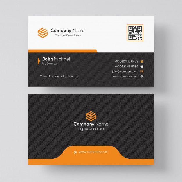 Professional Orange And Black Business Card Design Business Card Design Black Business Card Design Business Cards Collection
