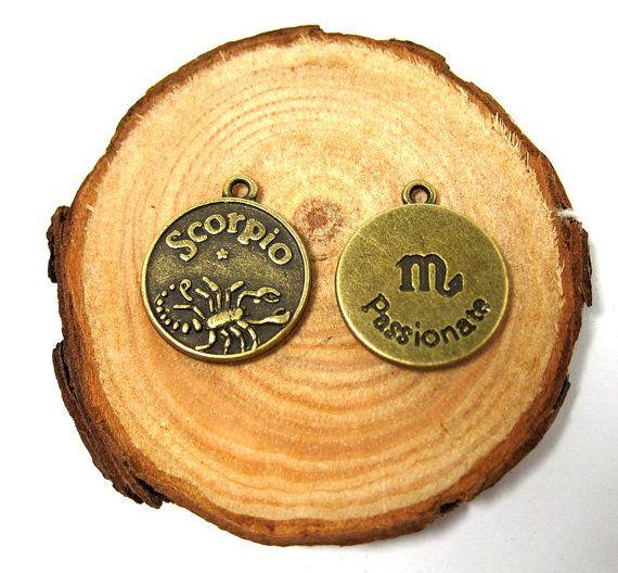 2pcs Bronze vintage style Zodian Sign Scorpio pendant by eSupply, $0.99