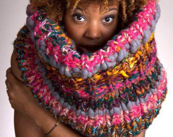 Sciarpa maglia spessa, grosso sciarpa maglia, sciarpa Infinity maglia, maglia sciarpa grosso, maglia cappuccio grosso, maglia cappuccio, maglia cappuccio grosso - canaglia