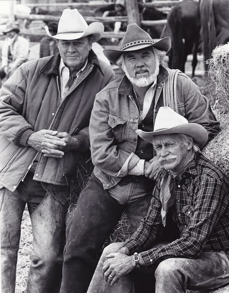WILD HORSES (CBS-TV Movie) - Ben Johnson, Kenny Rogers & Richard Armstrong on location in Sheridan, Wyoming - Publicity Still.