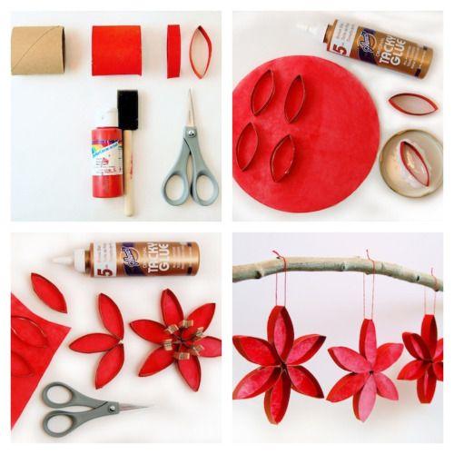 decorazioni natalizie realizzate riciclando i rotoli di carta igienica