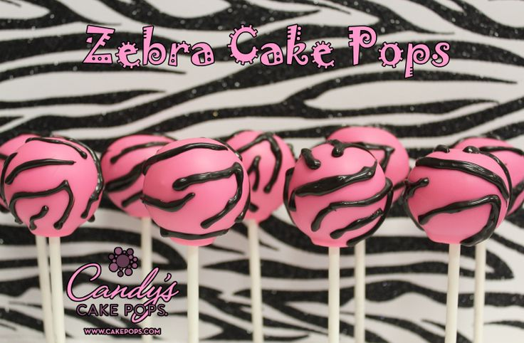 Hot Pink Zebra Cake Pops (can be customized in any color to match party theme) www.cakepops.com