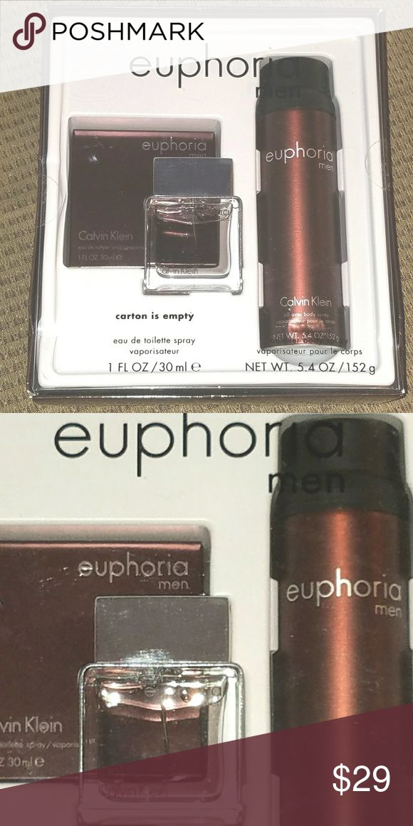 EUPHORIA Mens Gift Box-eu de toilette & body spray This is a new Euphoria gift box by Calvin Klein. It contains a 1 fl oz bottle of eau de toilette spray and a 5.4 oz all over body spray. The boxis unopened and shows a little wear. Calvin Klein Other