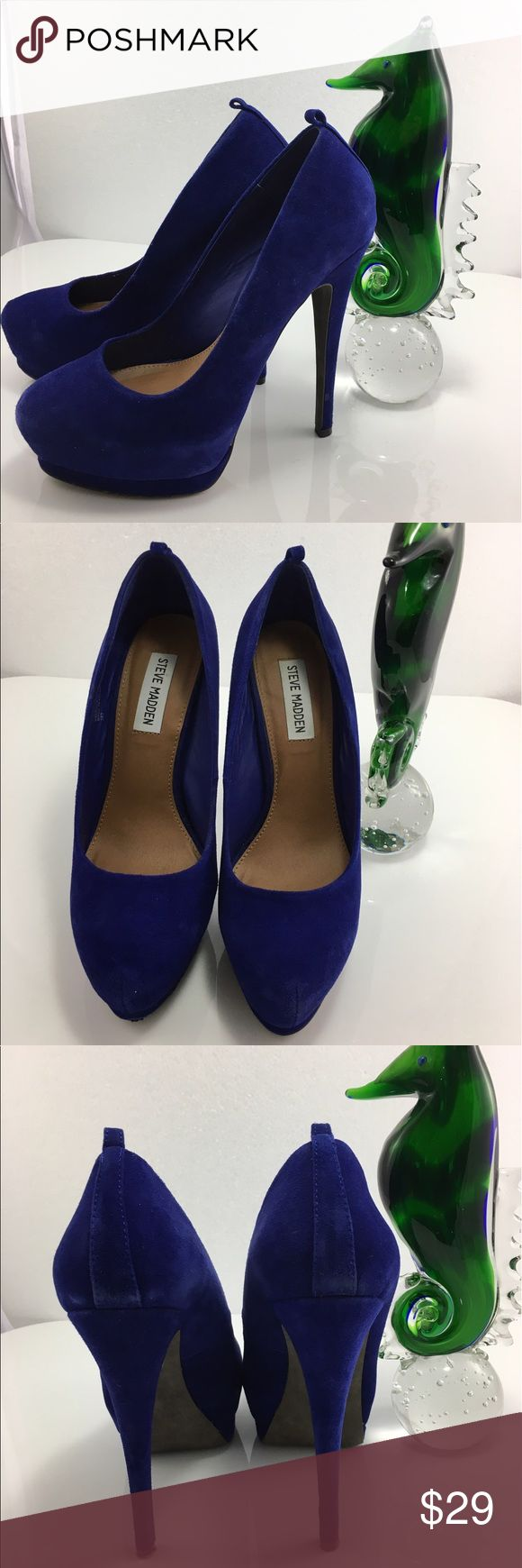 """💸Steve Madden Obsessed deep blue suede pump sz 8M 💸Steve Madden Obsessed deep blue suede pumps in size 8M. Heel height 5 1/2"""" high. Platform 1/2"""" in front. You are looking at a pair of Steve Madden pumps in Obsessed style. Heels and soles have little user wear (see pic) otherwise these heels are ready to wear! Absolutely gorgeous, soft and comfy! Steve Madden Shoes Platforms"""