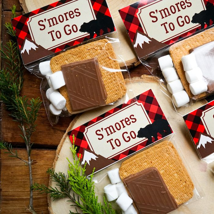 S'more favors from a Little Lumberjack Birthday Party on Kara's Party Ideas | KarasPartyIdeas.com (4)