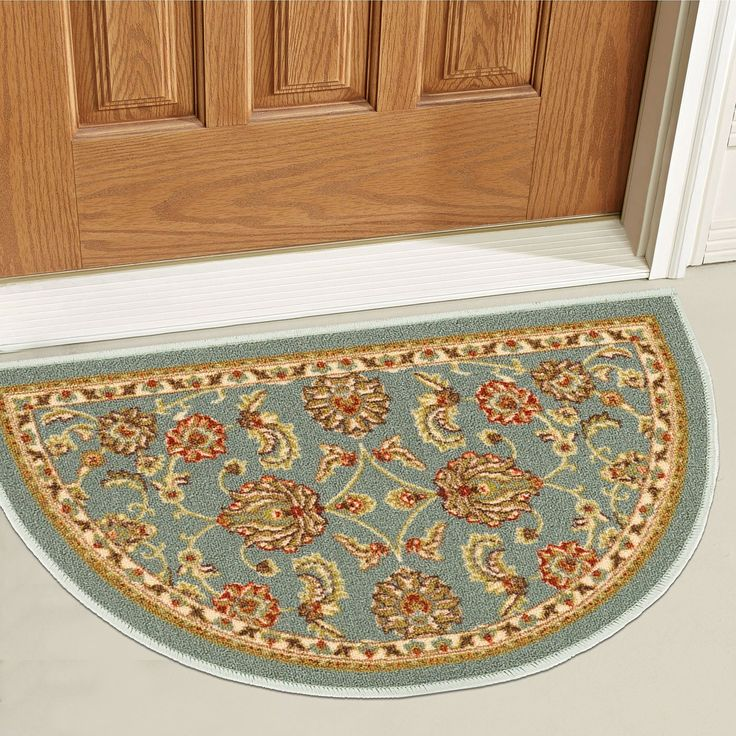 """Non-Skid / Slip Rubber Back Antibacterial 18"""" x 31"""" Slice Door Mat Hearth Rug Timeless Oriental Blue Traditional Classic Sarouk Thin Low Pile Machine Washable Indoor Outdoor Kitchen Hallway Entry"""