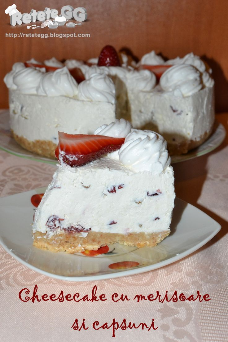 Retete gustoase si garnisite: Cheesecake cu merisoare si capsuni