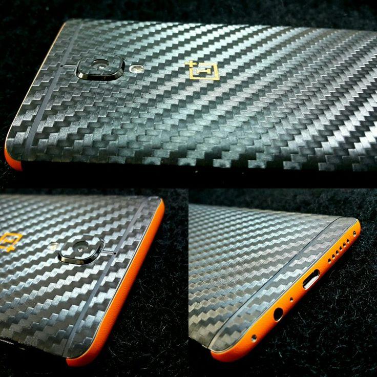 Folii Carbon 3M Black & Orange Oneplus 3
