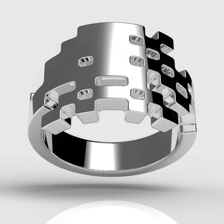 Anéis Space Invaders | Garotas Nerds: Silver Spaces, Anéi Spaces, Spaces Invaders, Jewelry Design, Fashion Invaders, Invaders Yuki, Yuki Rings, Invaders Rings, Silver Rings