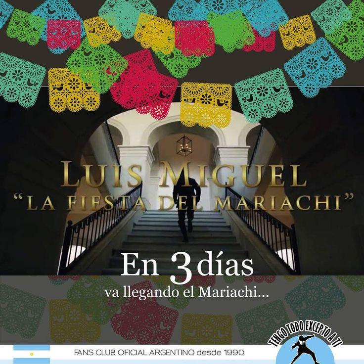 Tan sólo 3 días para el estreno oficial del video #LaFiestaDelMariachi #CuentaRegresiva. El próximo Lunes 18 es la gran fiesta! 💙 Luis Miguel Warner Music