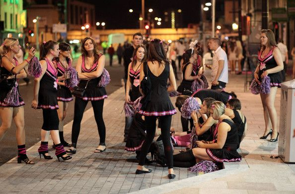 Revellers walk and gather between the various pubs and clubs in Cardiff city…