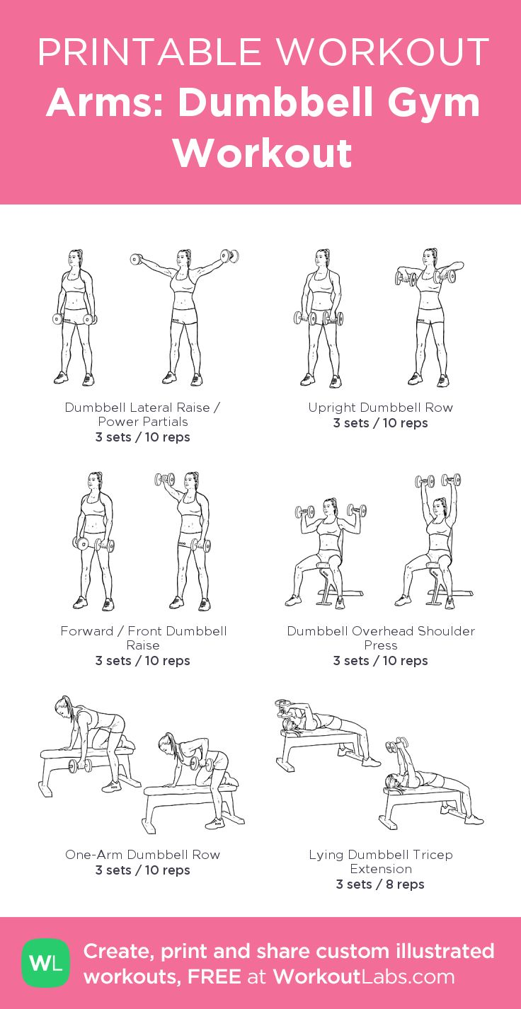Arms: Dumbbell Gym Workout:my visual workout created at WorkoutLabs.com • Click through to customize and download as a FREE PDF! #customworkout                                                                                                                                                     More