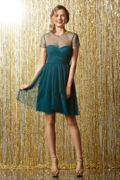 Wtoo Bridesmaid Dress 502 (Fall 2013 Collection)  Illusion sweetheart neckline Key-hole back Shirred, cascading above-the-knee length skirt *available in different colors