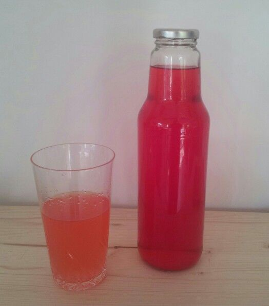 Freshly made rhubarb and lilac lemonade