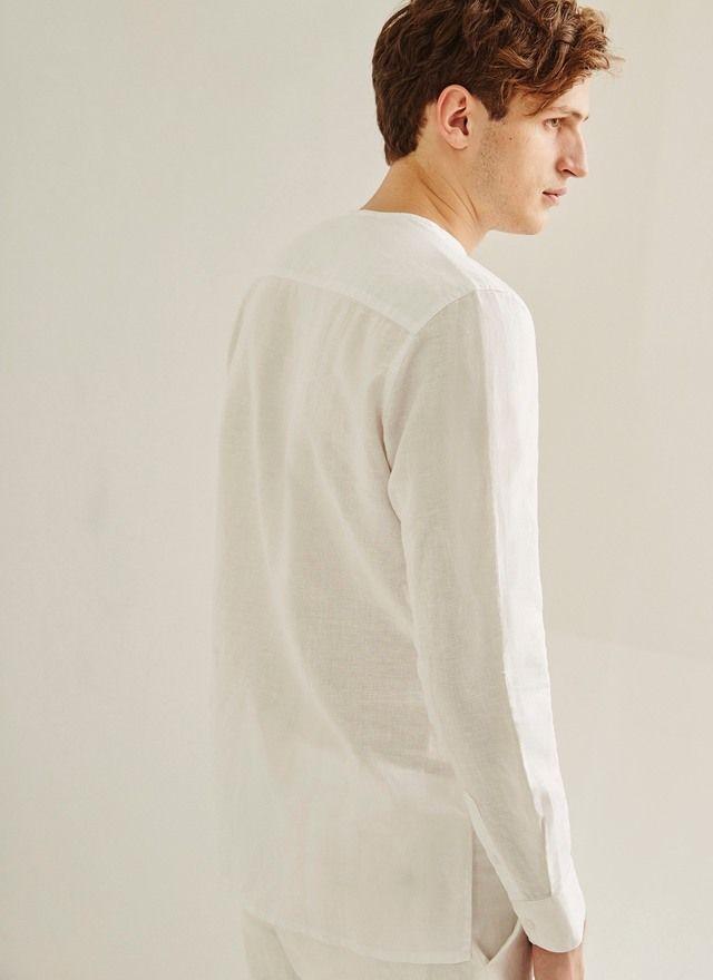 afslappet uden krave skjorte - shirts | Adolfo Dominguez butik online
