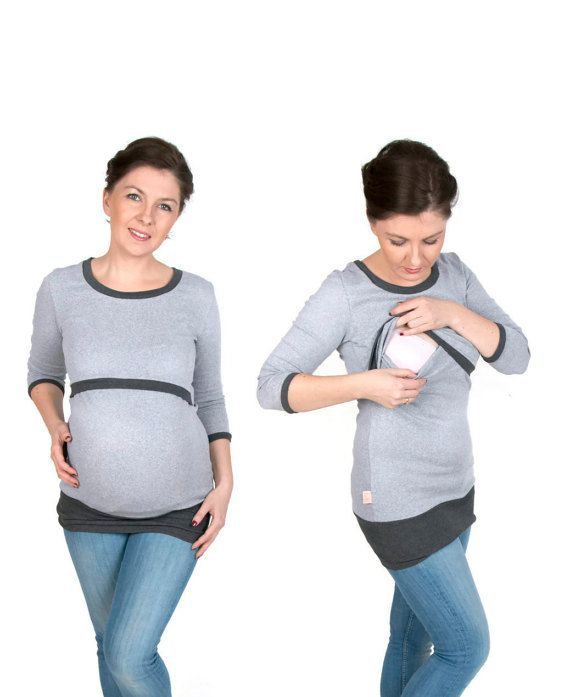 3 in 1 Maternity Pregnancy Sweatshirt Multifunctional Nursing Breastfeeding Tunic Top DARK/LIGHT GREY