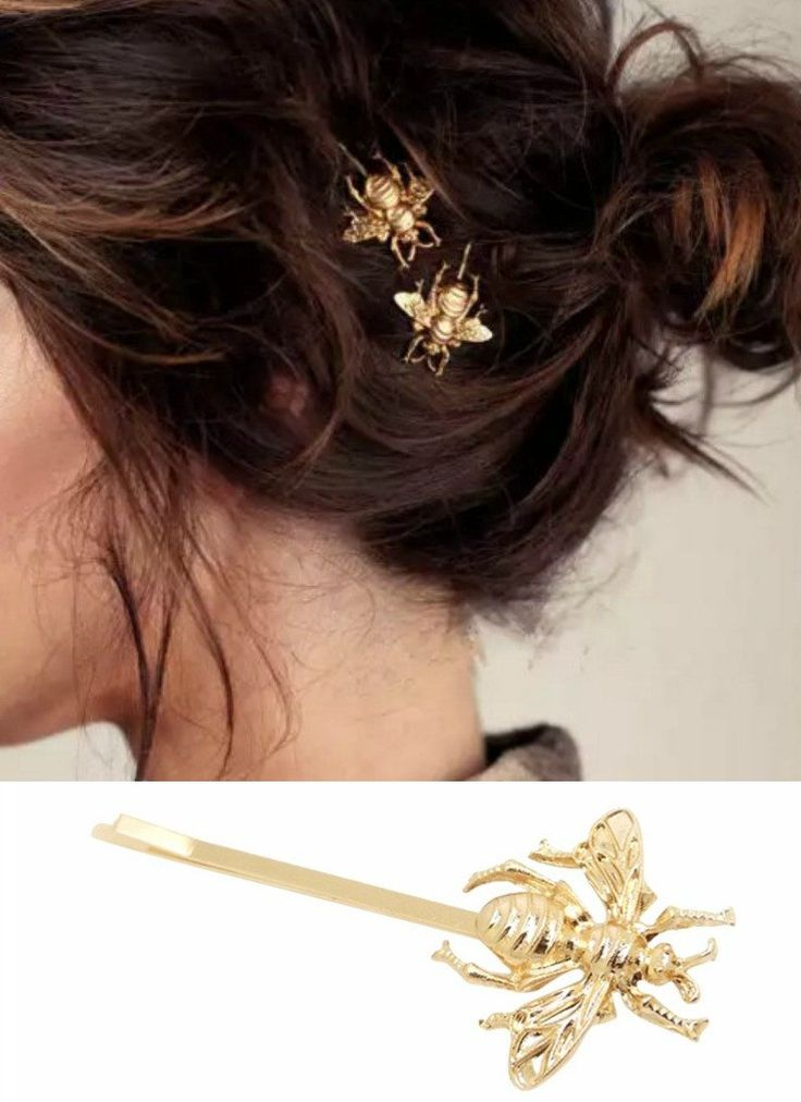 Set of 2 Gold Bumble Bee Hair Pins