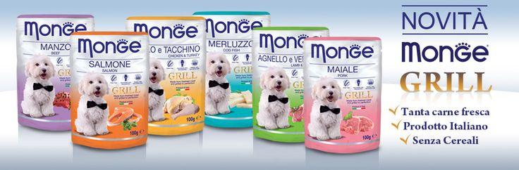 Monge Grill è il nuovo alimento umido per cani di produzione 100% italiana della linea Superpremium di Monge. E 'stato formulato per viziare il palato del tuo amato amico a quattro zampe. Le ricette sono selezionate e preparate alla perfezione con carni fresche alla griglia