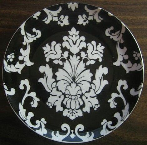 """$24.99 8"""" Dia Decorative Dishes - White on Black Damask Exotic Wallpaper Scroll Decorative Plate A, $24.99 (http://www.decorativedishes.net/white-on-black-damask-exotic-wallpaper-scroll-decorative-plate-a/)"""