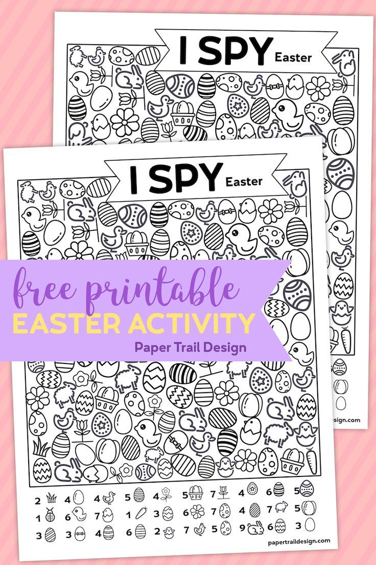 Free Printable I Spy Easter Activity Paper Trail Design Printable Easter Activities Easter Printables Free Easter Activities For Kids [ 1104 x 736 Pixel ]