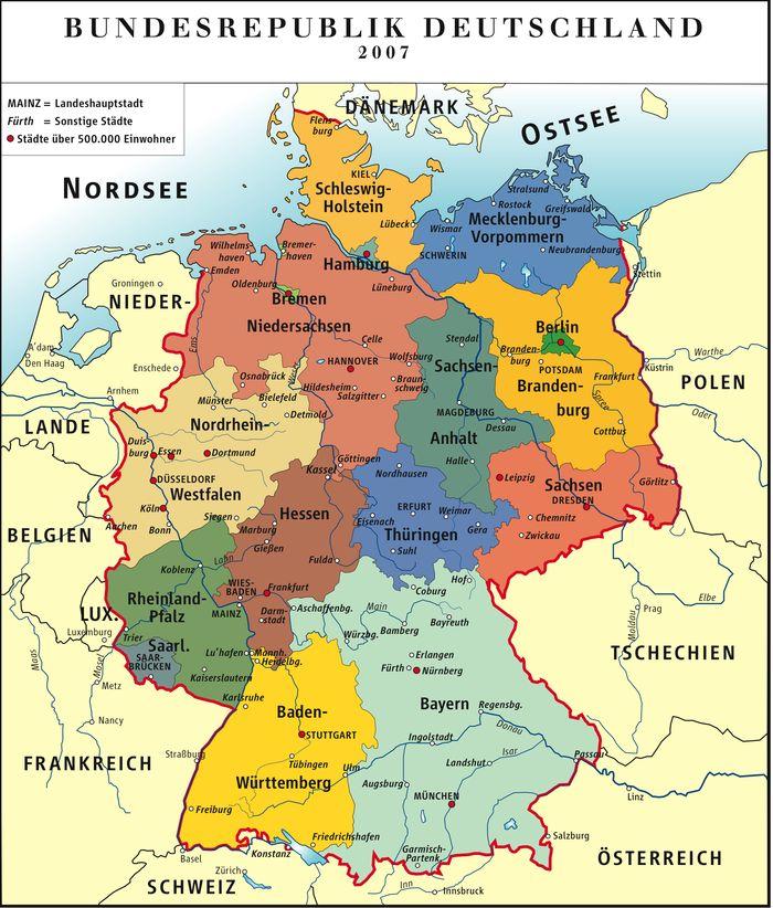 Landkarte Deutschland (politische Karte/Bunt)