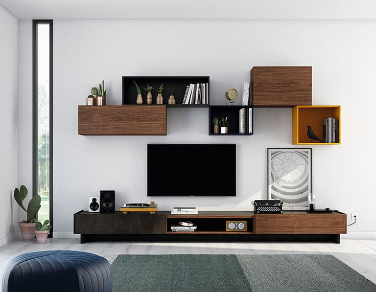 Ideas para salones modernos. Ideas de composiciones modulares modernas. Free modularity living room. Acabado nogal nature, carbón mate, blue mate, orange mate y  cerámica PIZARRA.
