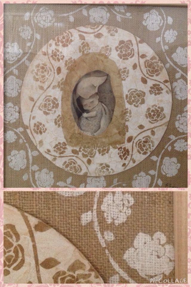 Virgen enmarcada. Fondo arpillera. Medidas 48x48. Diseños personalizados. Consultas a MEpatinasyobjetos@gmail.com