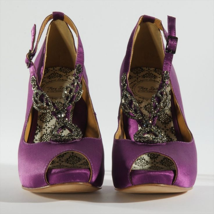 "Royal Purple ""Pre-Nope"" silk satin platform peeptoes by Hey Lady, $320"