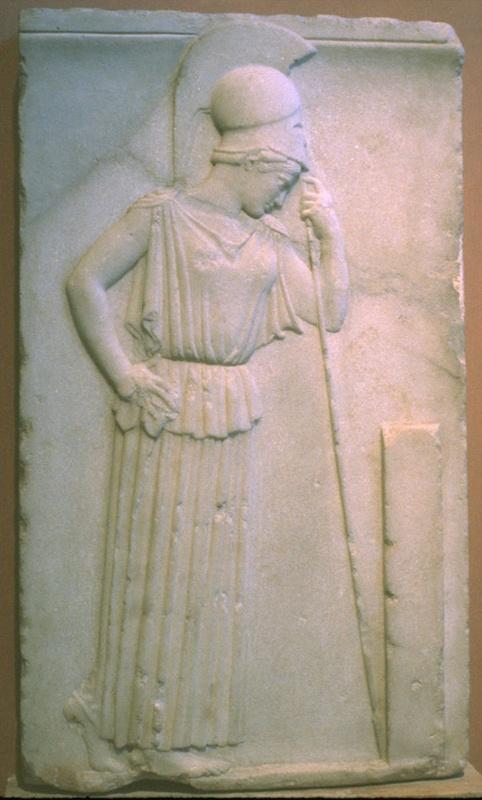 Athena Mourning - Athens Museum.  Relieffet her er inspirationen bag logoet til Restaurant Athena, Store Torv