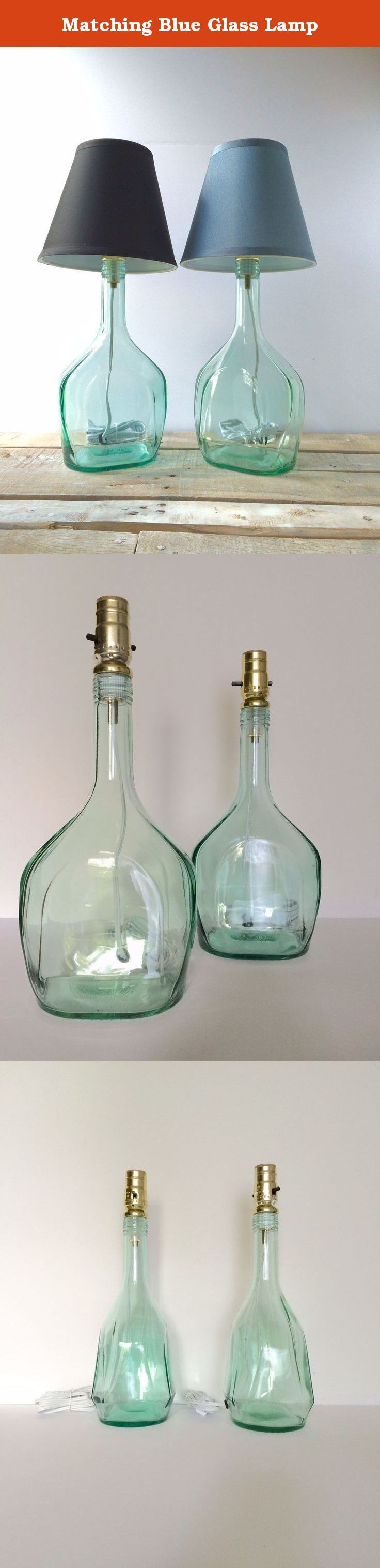 """Matching Blue Glass Lamp. These are a 1.75L blue glass bottle transformed into lamp. The bottle has a unique shape. The height approx 14 1/2"""" and the width at the base 4 1/2"""". The lamp has a max 250W, 7ft. 18-Gauge Cord, Push-through socket. You provide bulb. Thank you for looking! Have fun in life."""