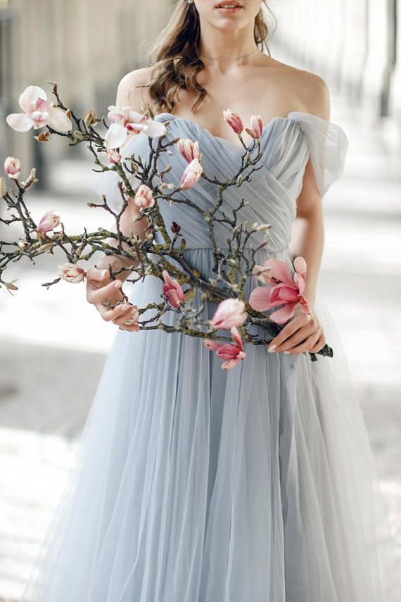Grey wedding dress blush wedding dress tulle gown open