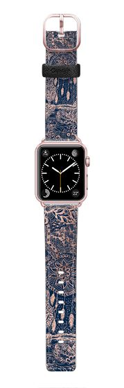 Casetify Apple Watch Band (42mm) Saffiano Leather Watch Band - Modern rose gold dreamcatcher floral doodles navy blue illustration by Girly Trend by Girly Trend