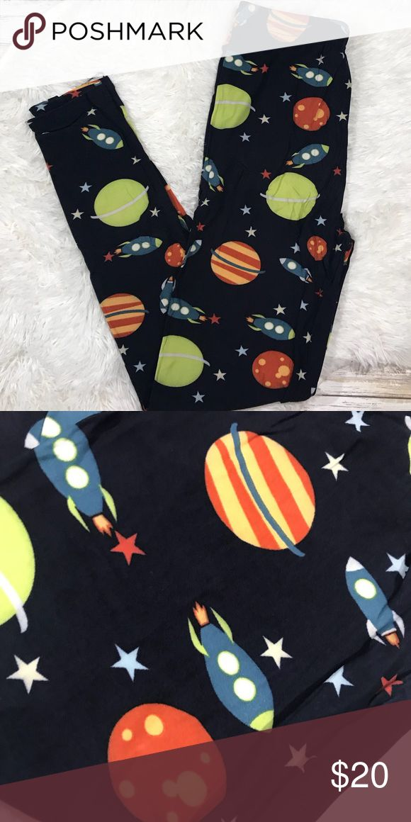 Buttery Soft Space Planets Leggings Gorgeous detailed buttery soft rare space leggings with regular waistband. These look and feel just like LuLaRoe. These are One Size and fit pant sizes 0-12 -Navy Background -All boutique items that come from my closet are purchased from legitimate wholesale vendors with my business license, and have received 5 star ratings! I do not buy from junk China sites like wish, ali express etc. Pants Leggings