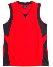 SD COOLDRY BASKETBALL SINGLET Printed with your team logo, names and numbers!  • CoolDry® Wicking Mesh • 160gsm – 100% Polyester • 100% CoolDry® Polyester Wicking Mesh. • Wicks moisture away from the body. • V-neck collar with centre patch that can be embroidered with logo. • Contrast colour front and back shoulder inserts and accent piping. • Double needle hemmed arm holes and bottom. • Matching shorts also available. Click here for more information  Available in these colours:  • Black/Red…