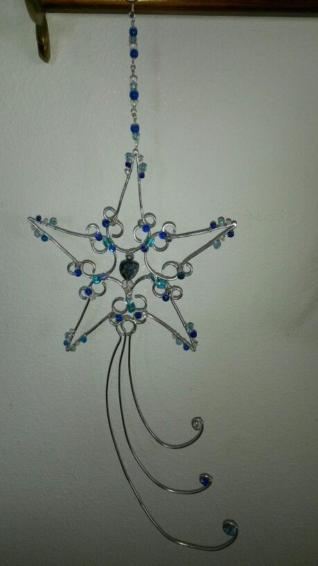 Star sun catcher. Wire wrapped beaded snowflake.
