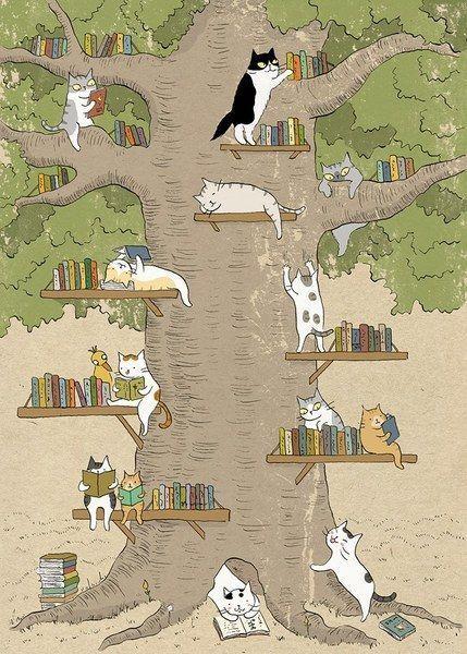 Meilleur des mix : chats + livres = la joie absolue ^^