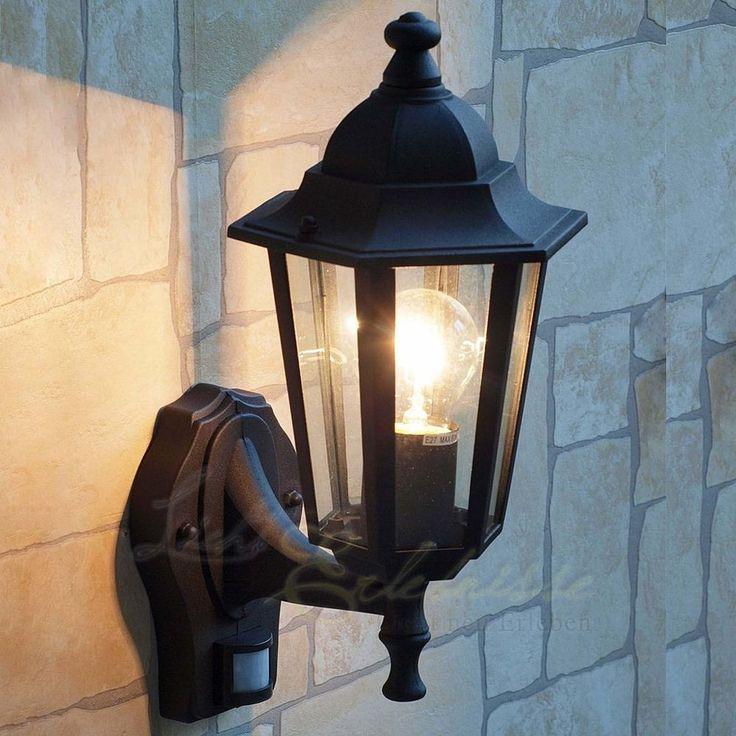 Schwarze Wand- Aussenleuchte mit Bewegungsmelder Sensor 8217 Hoflampe Hofleuchte | Garten & Terrasse, Beleuchtung, Decken- & Wandleuchten | eBay!