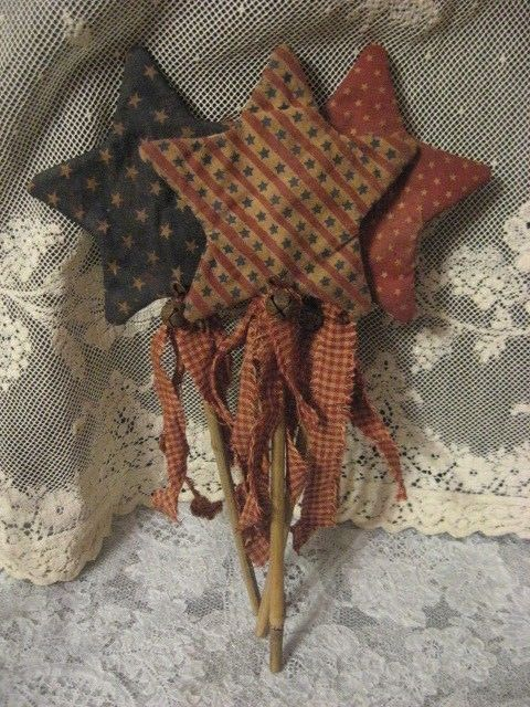 "Primitive Patriotic 12"" Star Pokes Set of 3 Summer 4th of July #NaivePrimitive #mestarpatternChestnutJunction"