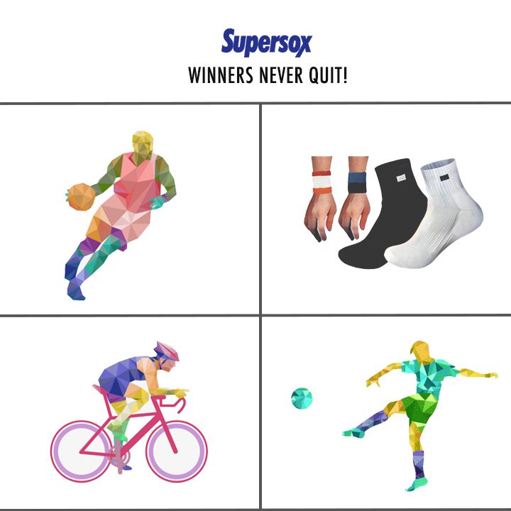 Winners Never Quit! Get some of these brand new sports socks and wrist bands. This pack of 4 is on #Amazon for ₹315 only! #Sports #Winners #WristBands #SportsSocks #MadeInIndia #Supersox