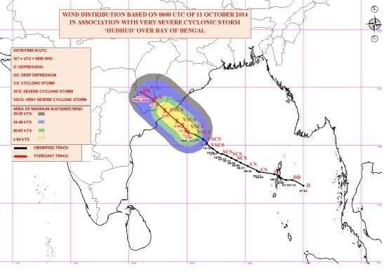 Cyclone Hudhud Warning : Very Severe Cyclonic Storm, 'HUDHUD' over west central Bay of Bengal,Cyclone Warning for north Andhra Pradesh