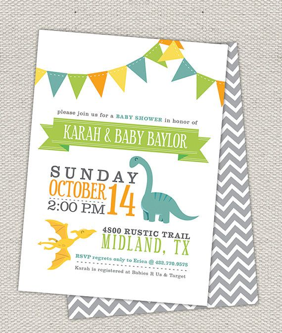 25 best dinosaur baby shower images on pinterest | dinosaur party, Birthday invitations