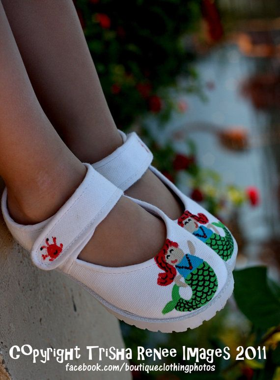 Disney Princess Shoes - Hand painted Little Mermaid inspired maryjane shoes or sneakers for girls - infant or toddler shoes on Etsy, $26.00