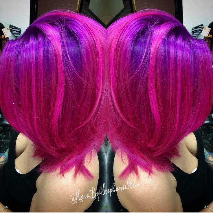 Fuchsia Pink Hair and Purple Hair Color by Stephanie Rose www.hotonbeauty.com