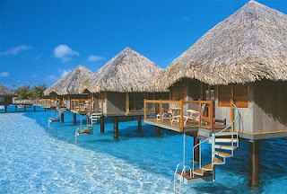 Dream vacation to Bora Bora!! I always thought it would be AMAZING to stay on room like this right on the ocean...nothing is better then crystal clear water!