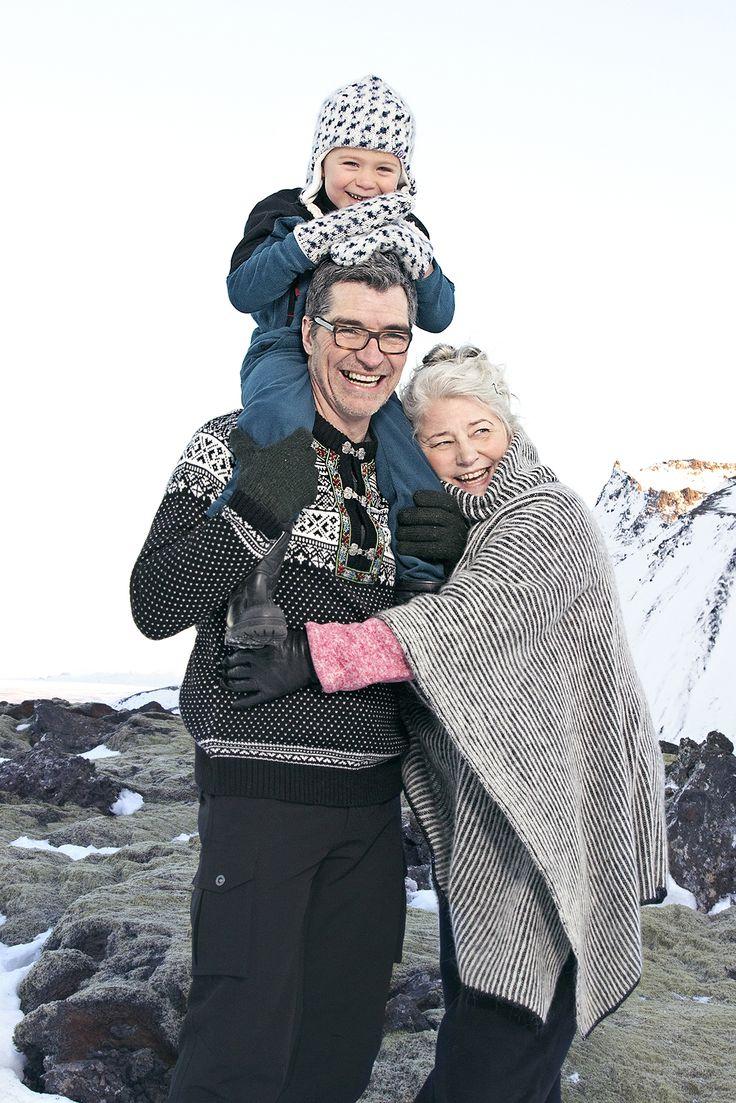 Trondheim - Norwegian Wool Blend Sweater & Ríkey - Icelandic Wool Poncho.