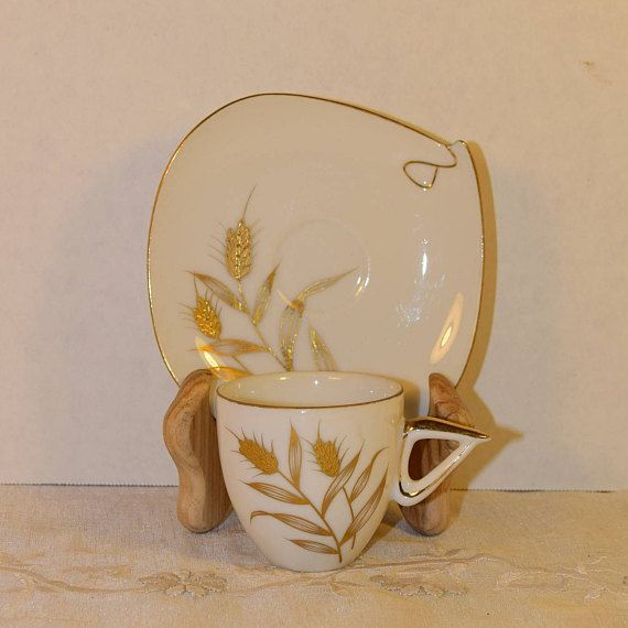 Golden Wheat Cup & Saucer Set Vintage Gold Accented China Cup